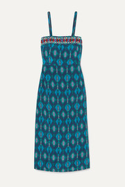 Figue Olatz beaded printed crepe de chine midi dress