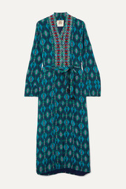 Figue Olatz beaded printed crepe de chine coat