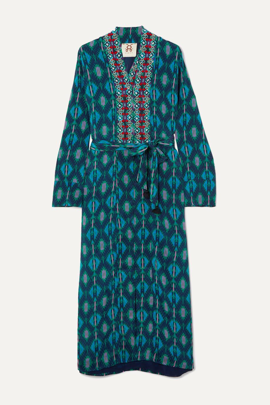 Figue | Olatz beaded printed crepe de chine coat | NET-A-PORTER.COM