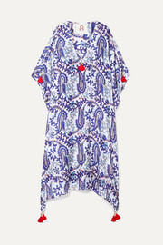 Figue Eliza tasseled printed silk crepe de chine kaftan