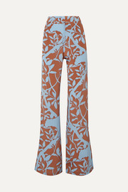 Dominant Paradigm printed silk crepe de chine straight-leg pants