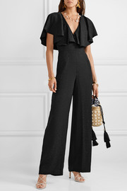 Poetry in Motion ruffled satin-jacquard jumpsuit