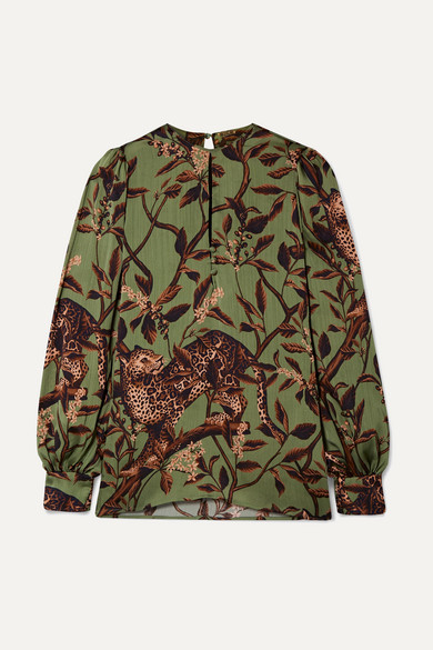 Johanna Ortiz Tops Gifts of Nature printed crepon blouse
