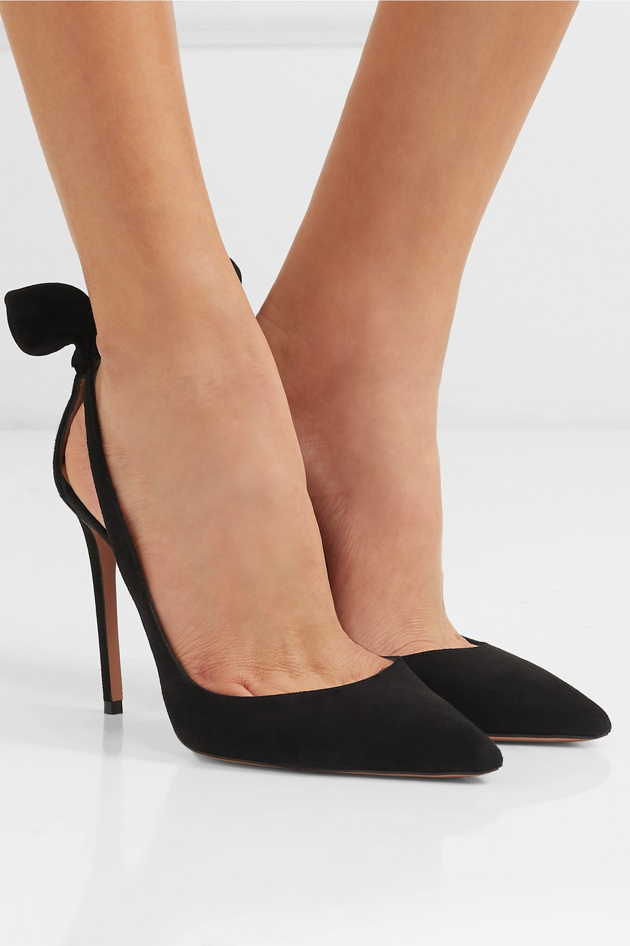 Aquazzura Bow Tie 105 suede pumps