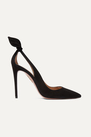 Deneuve 105 bow-embellished suede pumps