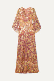 Etro Printed fil coupé silk-blend georgette maxi dress
