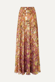 Printed fil coupé silk-blend georgette maxi skirt