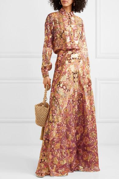 Etro Skirts Printed fil coupé silk-blend georgette maxi skirt