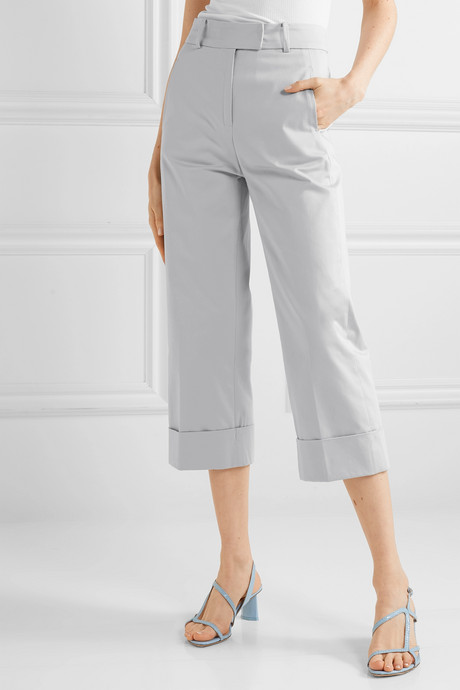 Beatrice cropped cotton-blend wide-leg pants