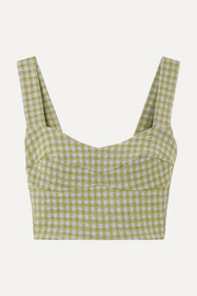Agnello cropped gingham woven top