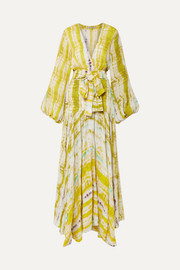 Annmarie belted tie-dyed crepe maxi dress