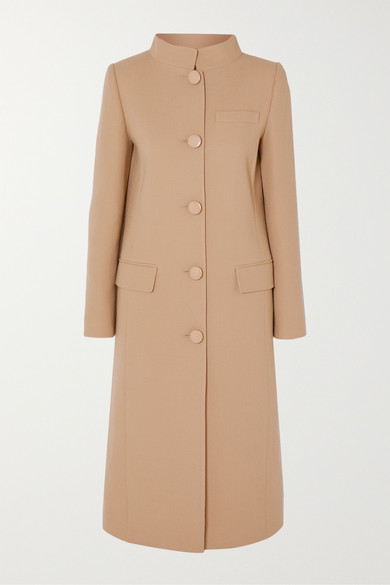 GIVENCHY | Givenchy - Wool-Crepe Coat - Brown | Goxip