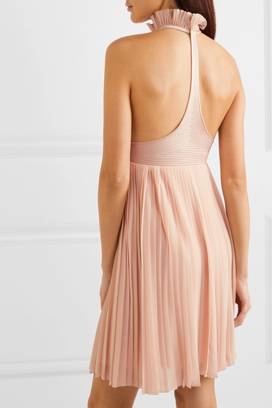 Givenchy   Satin paneled ruffled pleated silk georgette