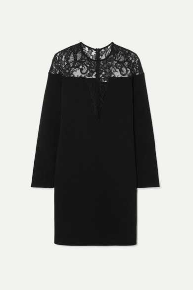 GIVENCHY | Givenchy - Lace-Trimmed Stretch-Crepe Mini Dress - Black | Goxip