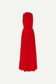 Givenchy Open-back ruffled plissé-silk georgette halterneck gown