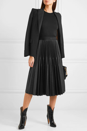 Jersey and pleated faux leather dress