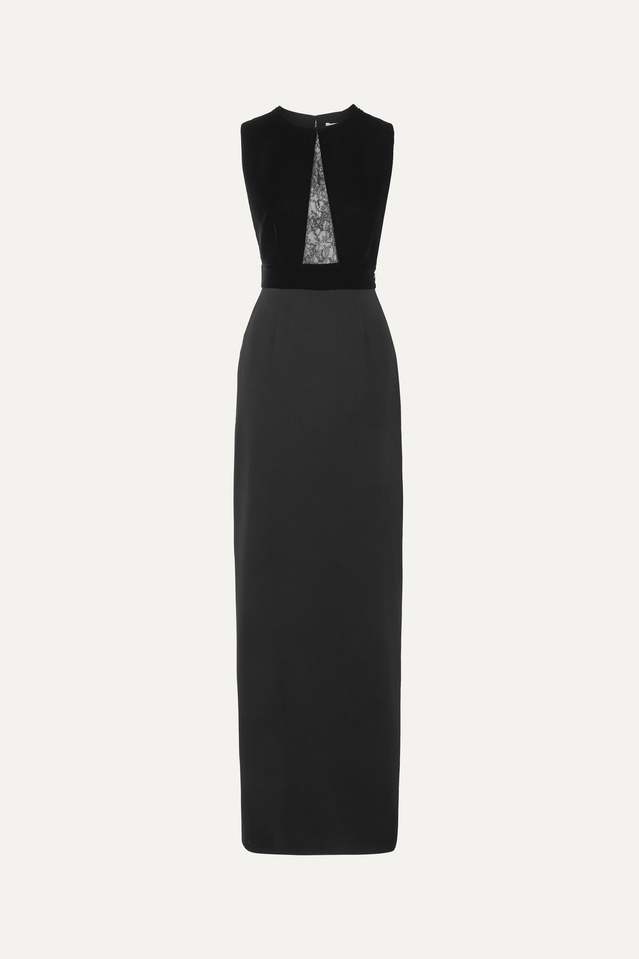 Givenchy Lace-paneled velvet and crepe gown