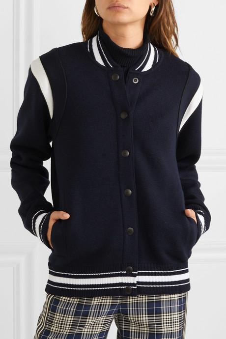 Appliquéd striped wool-blend bomber jacket
