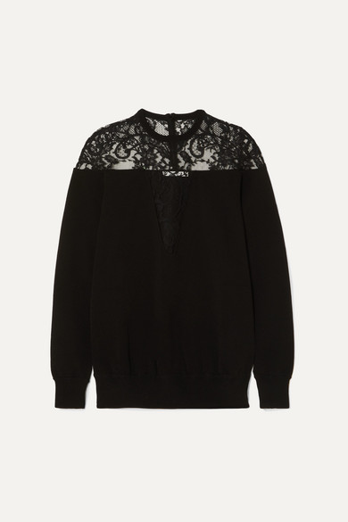 GIVENCHY | Givenchy - Lace-Trimmed Knitted Sweater - Black | Goxip