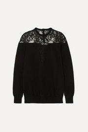 Givenchy Lace-trimmed knitted sweater