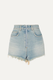 Distressed faded stretch-denim shorts