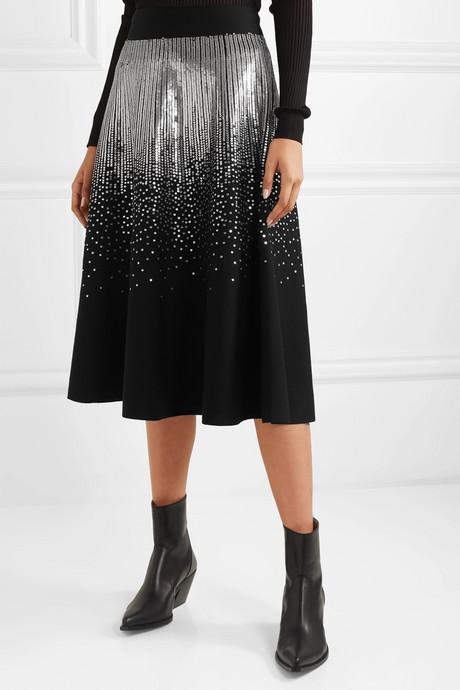 Sequin-embellished stretch wool-blend midi skirt