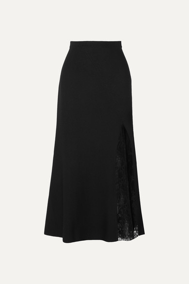 1ff97c7bd069 GIVENCHY | Givenchy - Lace-paneled Crepe Midi Skirt - Black | Goxip