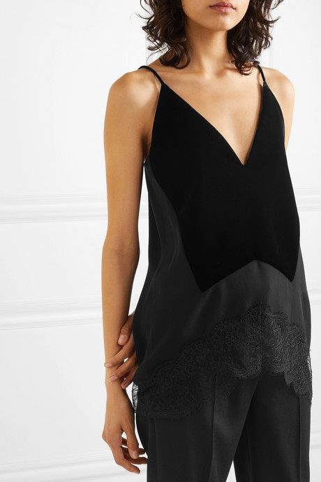 Velvet, crepe and lace camisole