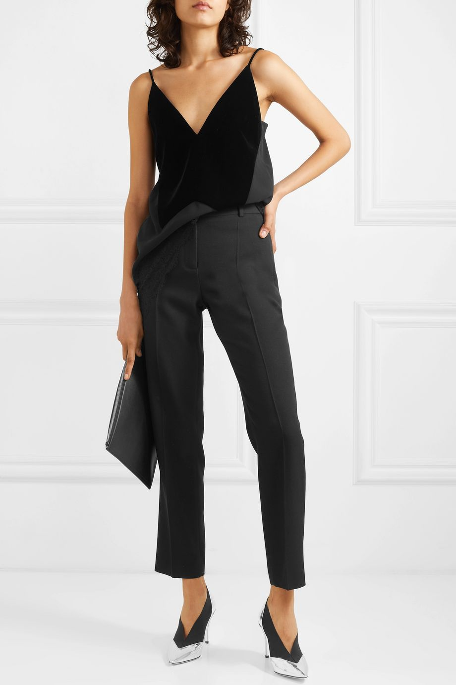 Givenchy Velvet, crepe and lace camisole
