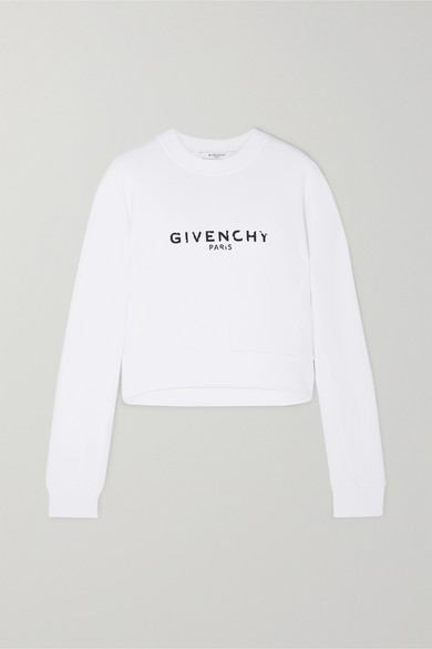 GIVENCHY | Givenchy - Cropped Printed Cotton-Jersey Sweatshirt - White | Goxip