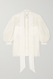 Givenchy Pussy-bow silk crepe-trimmed lace blouse