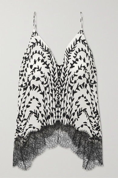 Givenchy Printed Lace-Trimmed Silk Crepe De Chine Camisole In White