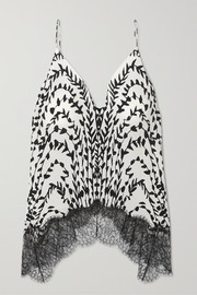 Givenchy Printed lace-trimmed silk crepe de chine camisole
