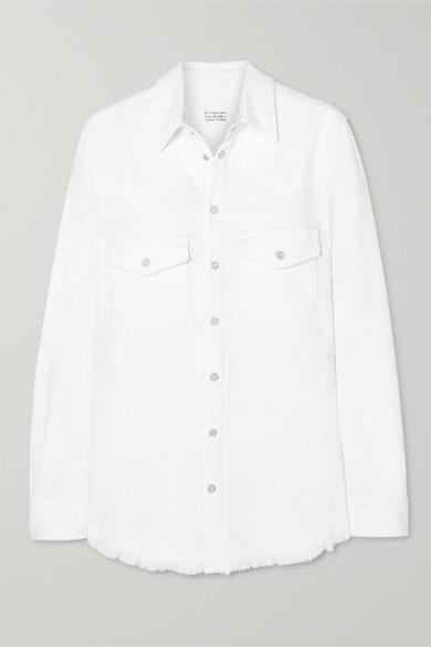 GIVENCHY | Givenchy - Frayed Denim Shirt - White | Goxip