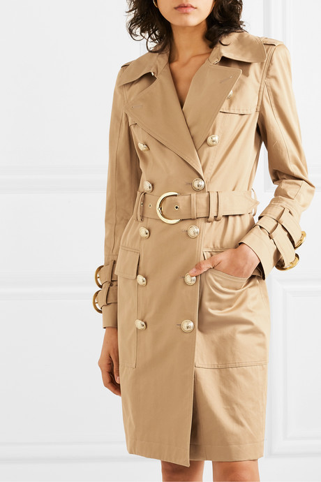 Button-embellished cotton-twill trench coat