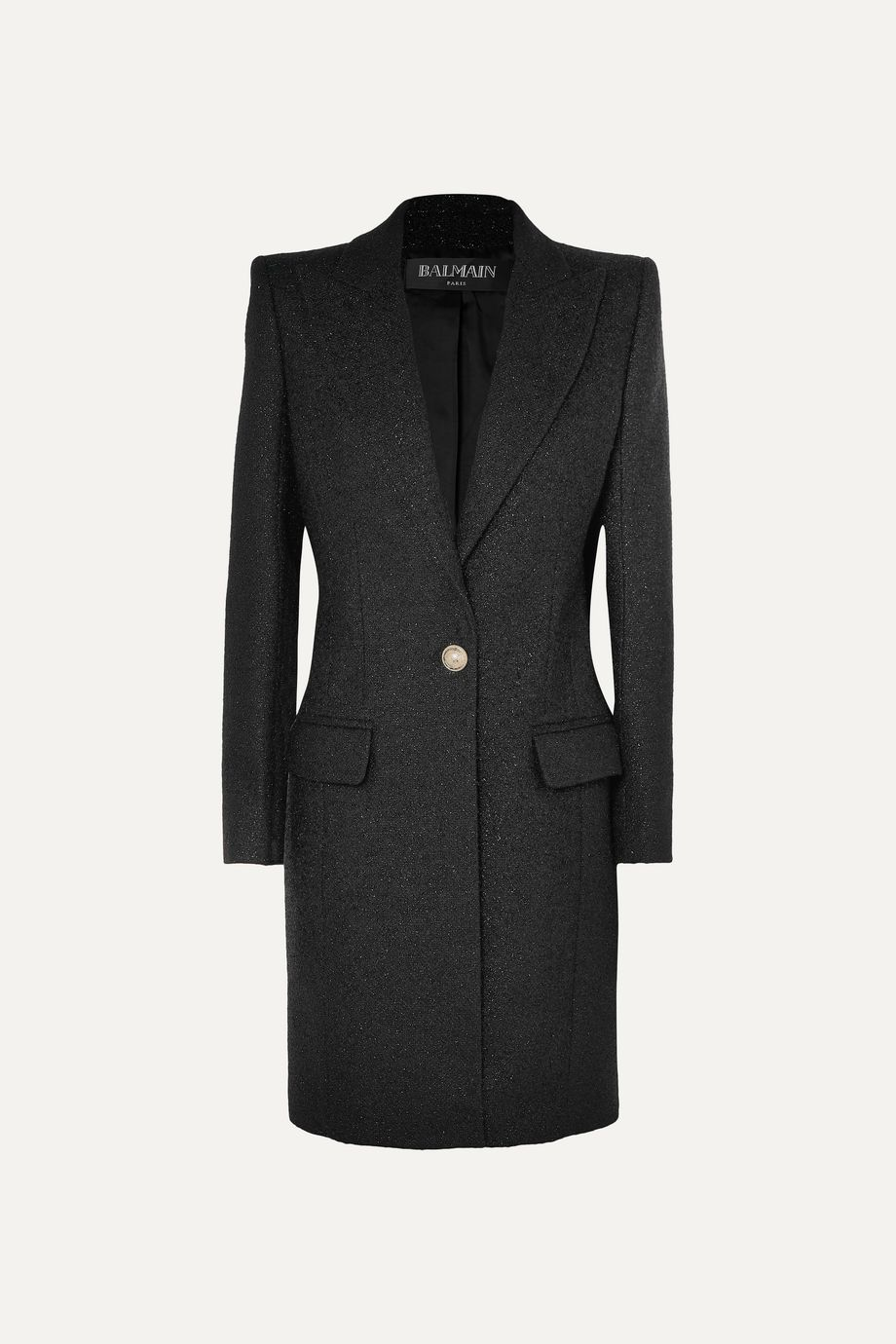 Balmain Manteau en laine mélangée métallisée à boutons