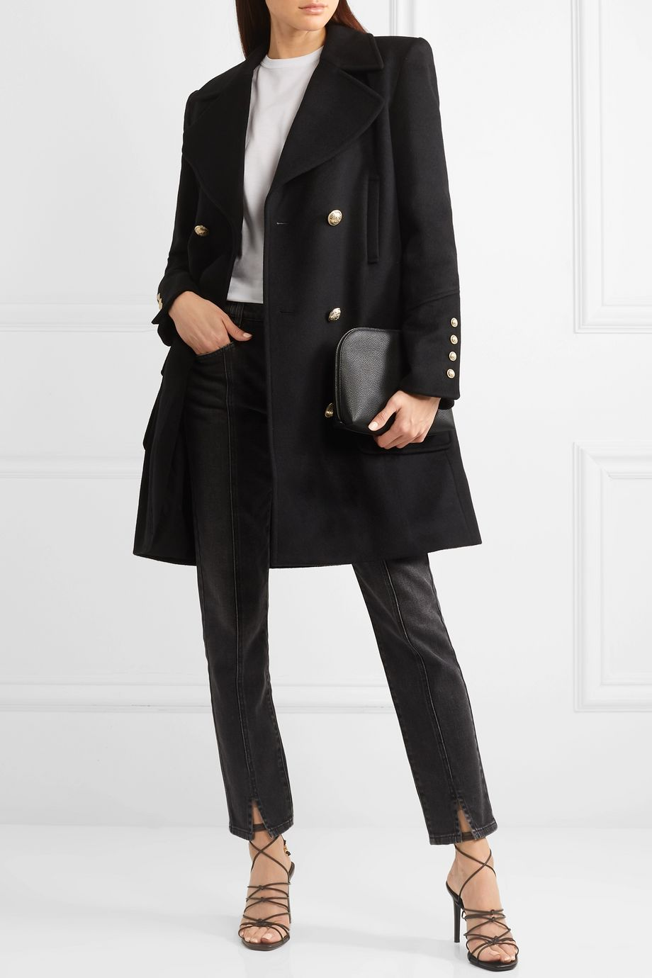 Balmain Manteau à double boutonnage en laine et cachemire mélangés