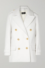Button-embellished double-breasted wool coat