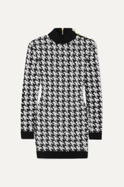 Balmain Button-embellished houndstooth bouclé-tweed mini dress