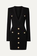 b46c170c3e0e Balmain Button-embellished stretch jacquard-knit mini dress