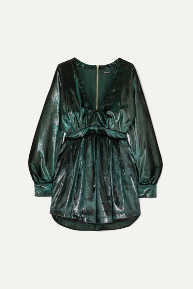 Gathered Metallic Velvet Mini Dress by Balmain