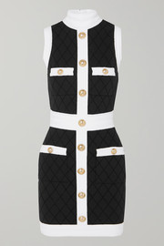 Balmain Two-tone button-embellished stretch-knit mini dress
