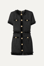 Balmain Velvet-trimmed frayed metallic tweed mini dress