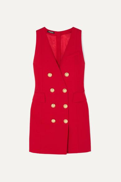 Button-embellished wool-twill mini dress
