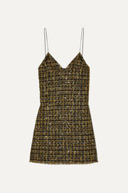 Balmain Sequined metallic tweed mini dress