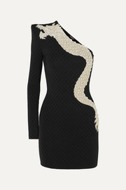 Balmain One-sleeve crystal-embellished stretch-jersey mini dress