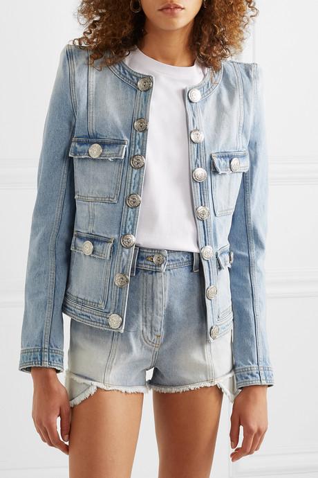 Button-embellished distressed denim jacket
