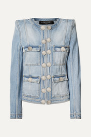 Balmain Jeansjacke in Distressed-Optik mit Zierknöpfen