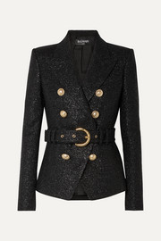 Balmain Double-breasted belted metallic wool-blend tweed blazer