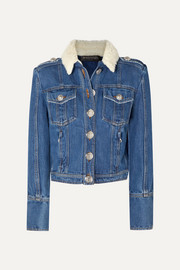 Balmain Button-embellished shearling-trimmed denim jacket